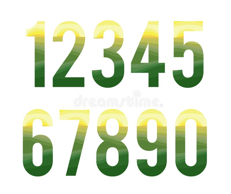 Abstract colorful font number . skin graphic alphabe stock illustration