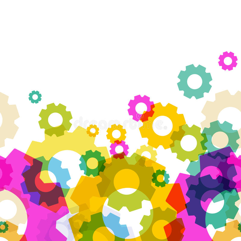 Abstract Colorful Gears Shape Pattern. Vector Seamless ...