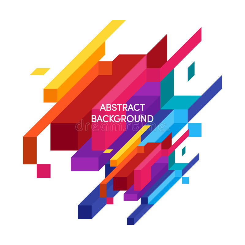 Abstract colorful geometric isometric background royalty free illustration