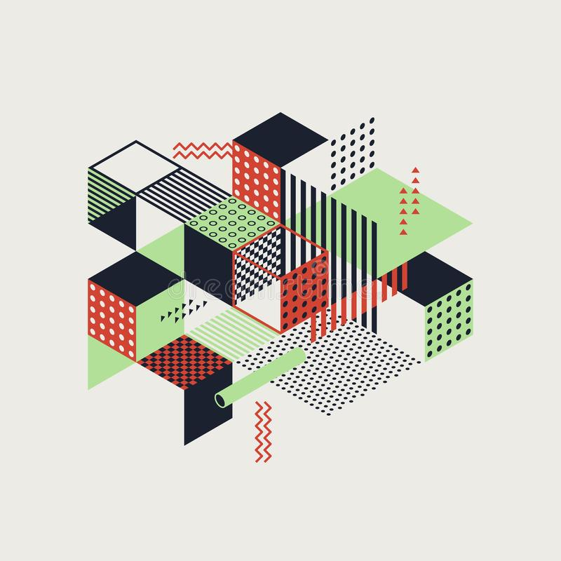 Abstract colorful geometric isometric vintage retro style background royalty free illustration