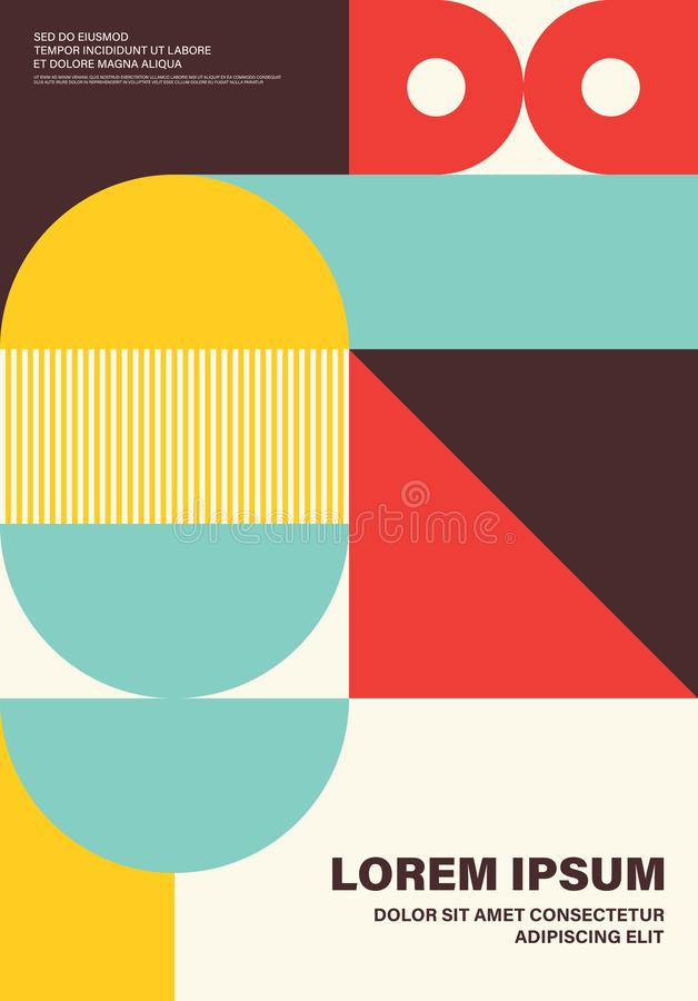 Abstract colorful geometric shape layout design template poster background. Modern art style. Design element can be used for backdrop, publication, brochure stock illustration