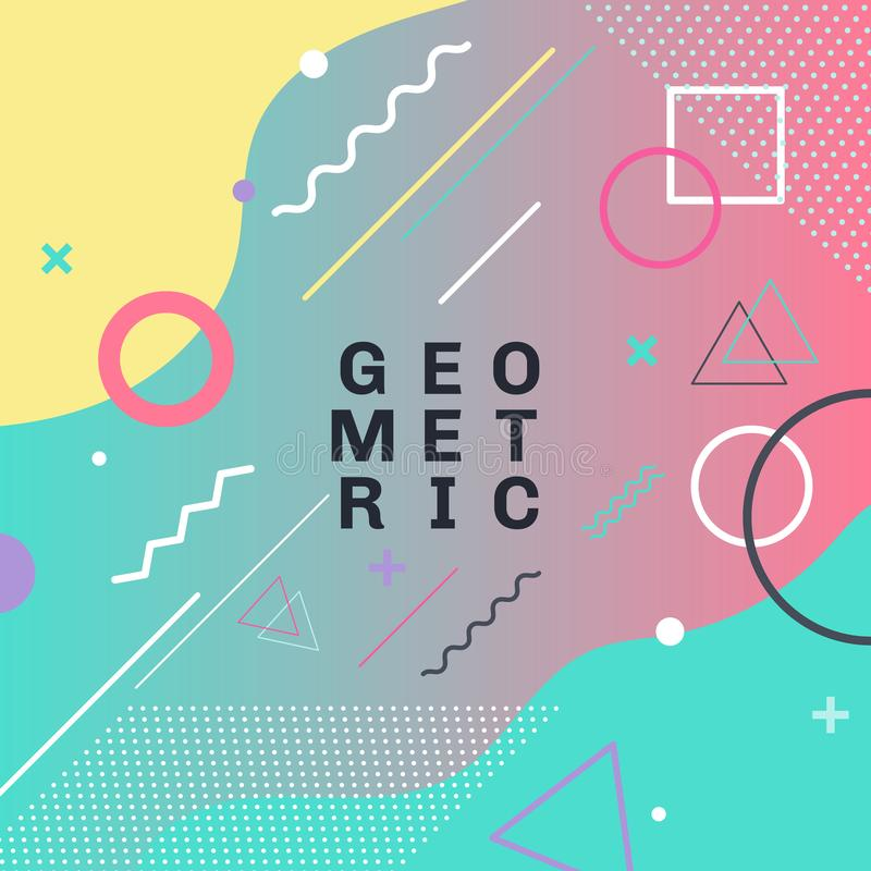 Abstract colorful geometric shapes and forms trendy fashion memphis style card design background. You can use for poster, brochure vector illustration