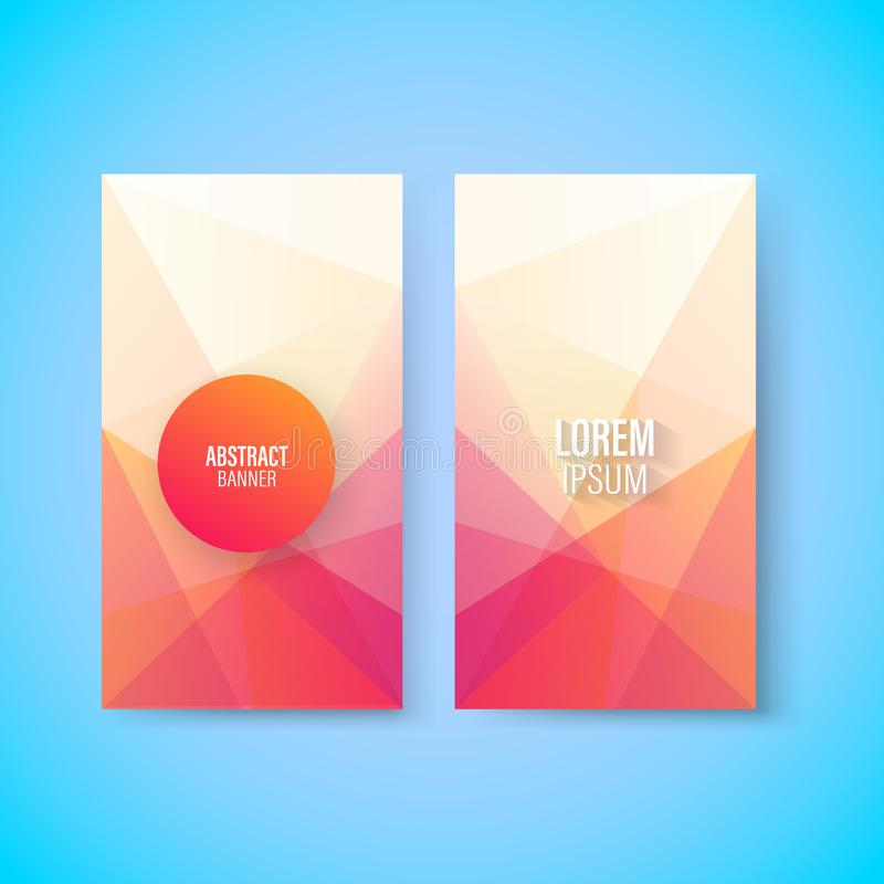 Abstract colorful geometric triangular vertical modern card template, vector royalty free illustration