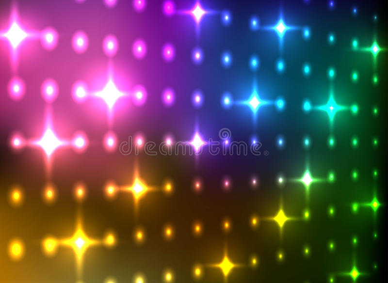 Abstract colorful glittering light wall background. royalty free illustration