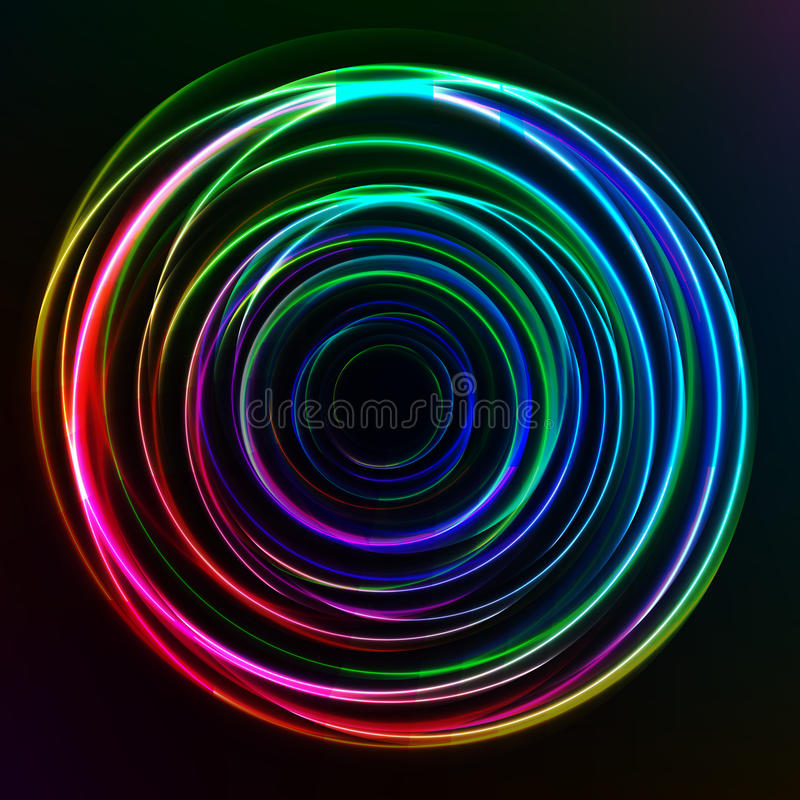 Abstract colorful Glow Circles on dark background stock illustration