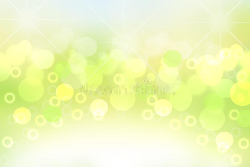 Abstract colorful gradient green yellow and white bokeh lights background texture. Space royalty free illustration