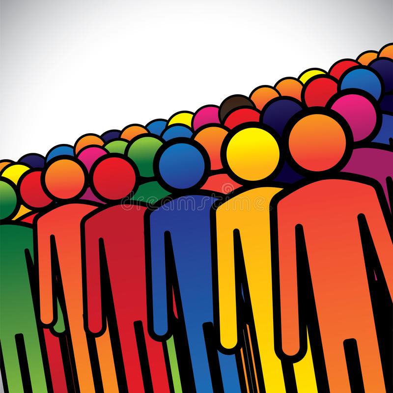Abstract colorful group of people or workers or employees. Concept vector. The graphic also represents people icons in various colors forming a group of stock illustration