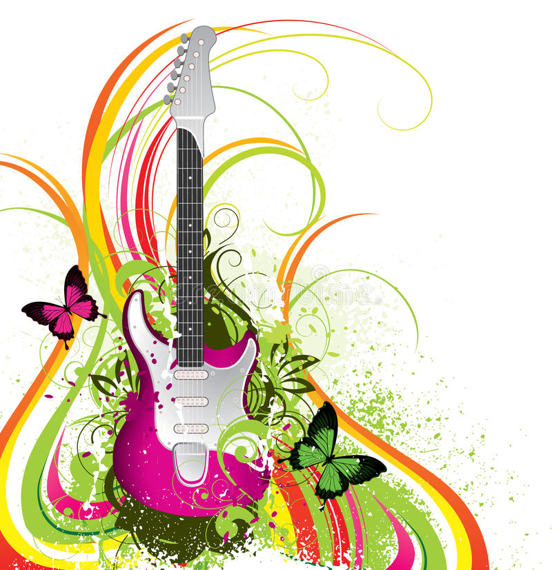 Abstract colorful guitar vector illustration