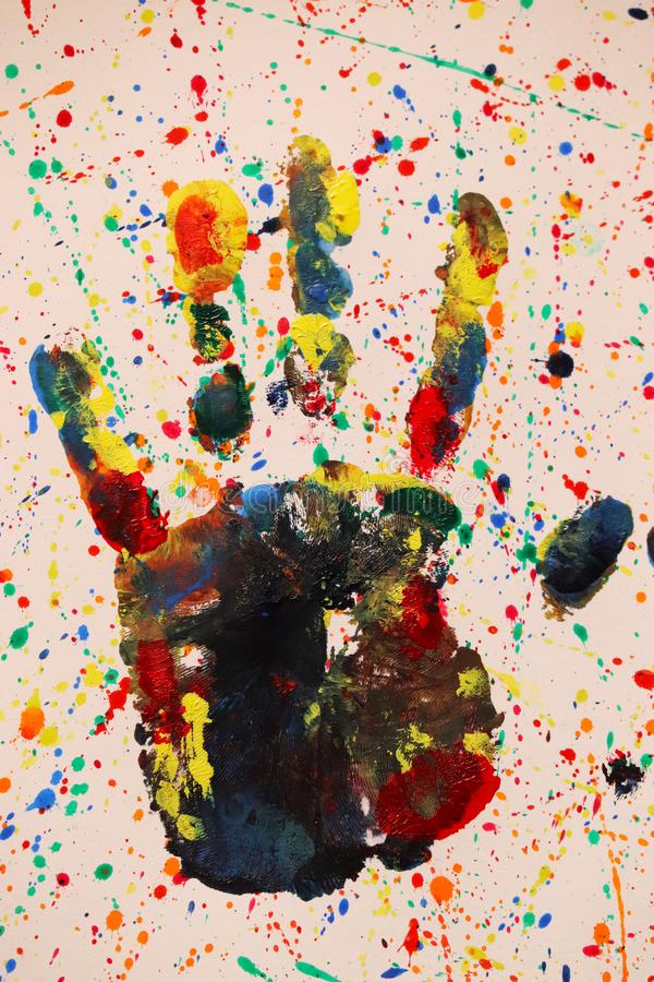 Abstract Colorful Hand Impression royalty free stock photography