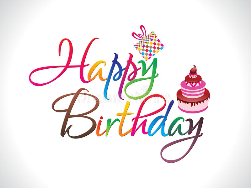 Abstract colorful happy birthday text stock illustration