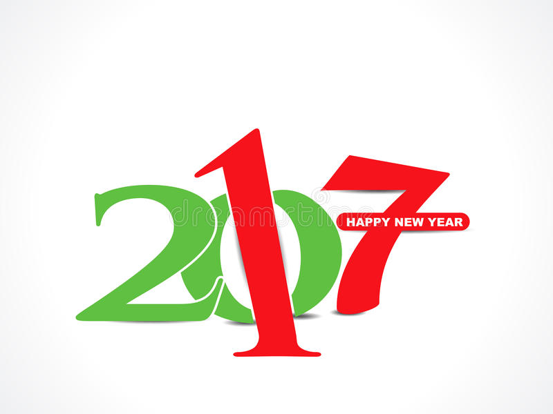 Abstract colorful happy new year 2017 text background vector illustration