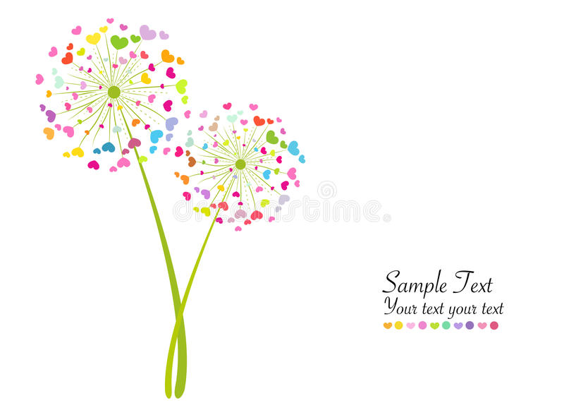 Abstract colorful heart dandelion spring time vector background vector illustration