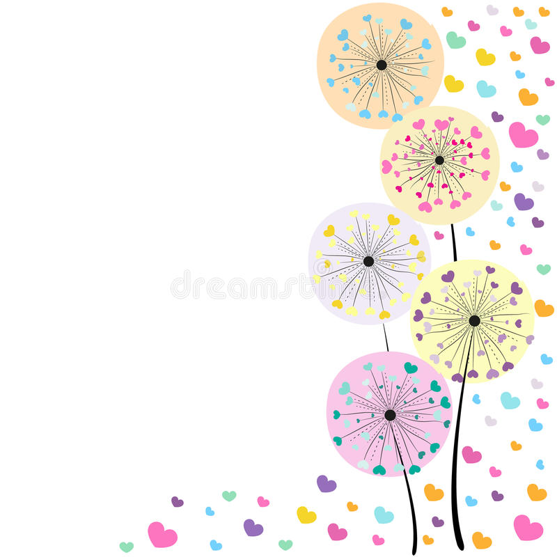 Abstract colorful heart dandelion spring time vector background. Abstract colorful heart dandelion spring time vector vector illustration
