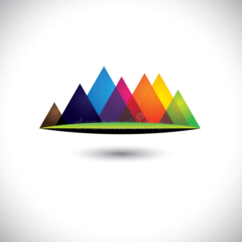 Abstract colorful hills & mountain ranges & grassl stock illustration