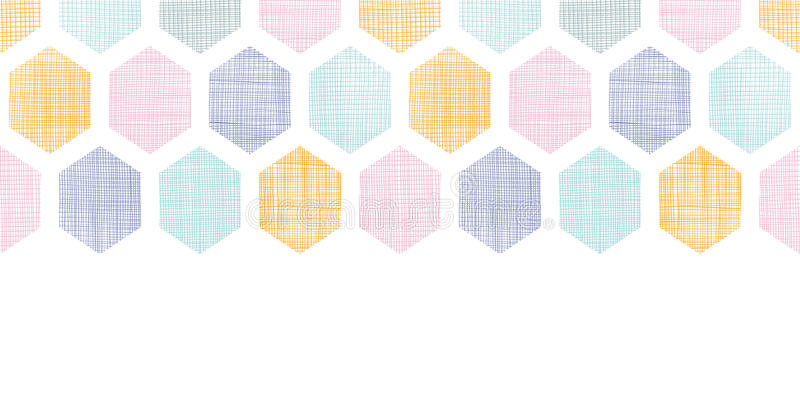 Abstract colorful honeycomb fabric textured horizontal seamless pattern background stock illustration
