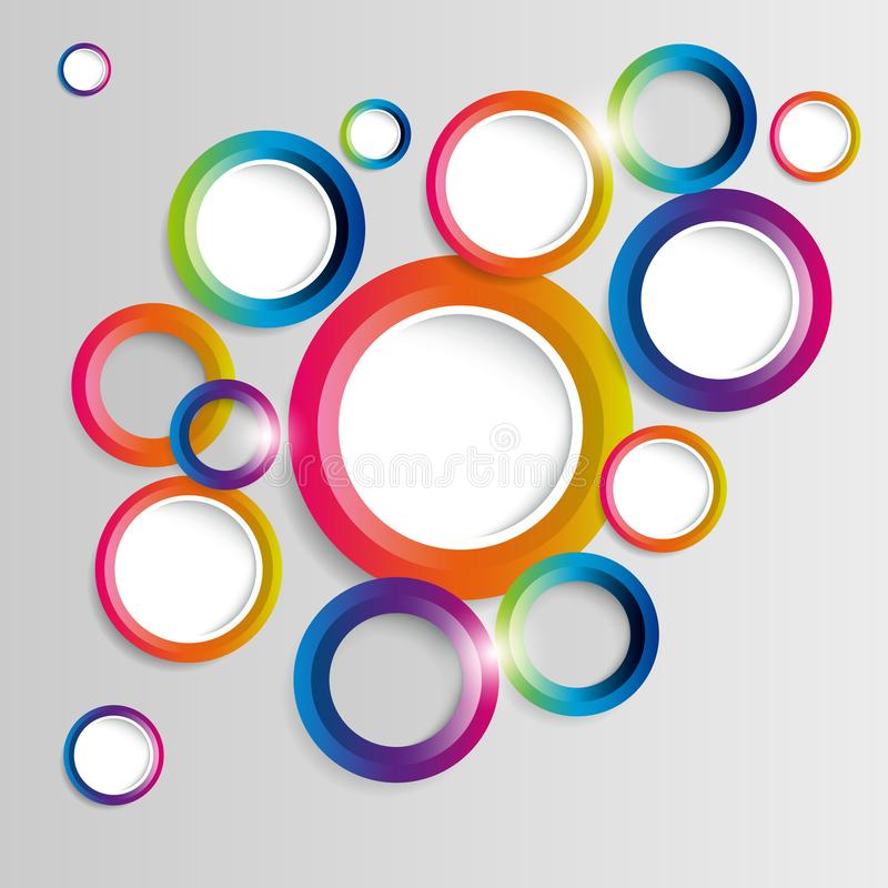 Abstract colorful hoop circles frame on a light background. Vector royalty free illustration