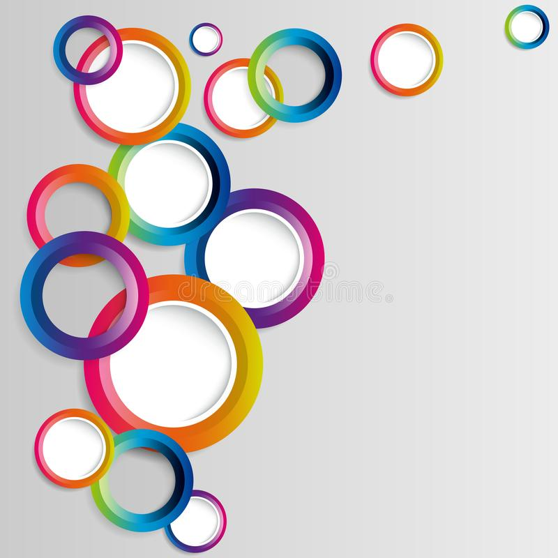 Abstract colorful hoop circles frame on a white background. Vector illustration royalty free illustration