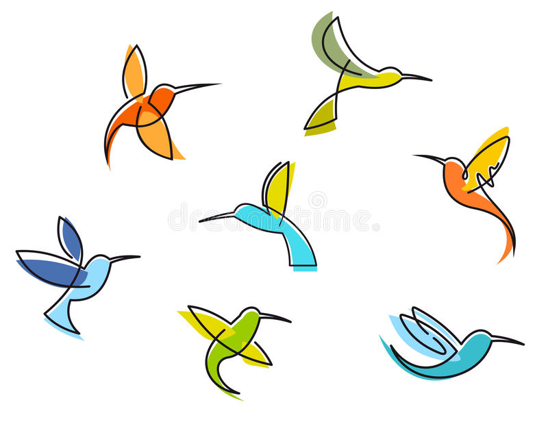 Abstract colorful hummingbirds stock illustration