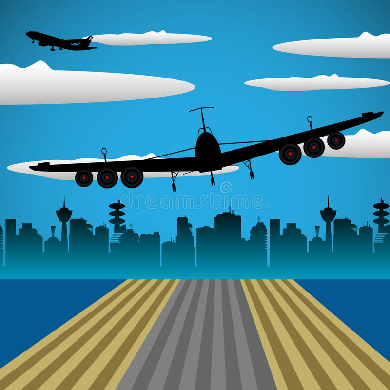 Takeoff. Abstract colorful illustration with takeoff airplane and a sky with allot of clouds. Takeoff concept royalty free illustration