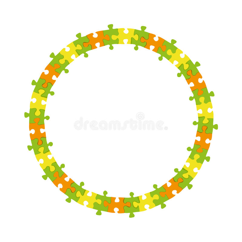 Abstract colorful jigsaw puzzle circle frame wheel vector background. Bstract colorful jigsaw puzzle blank circle frame wheel business vector background vector illustration