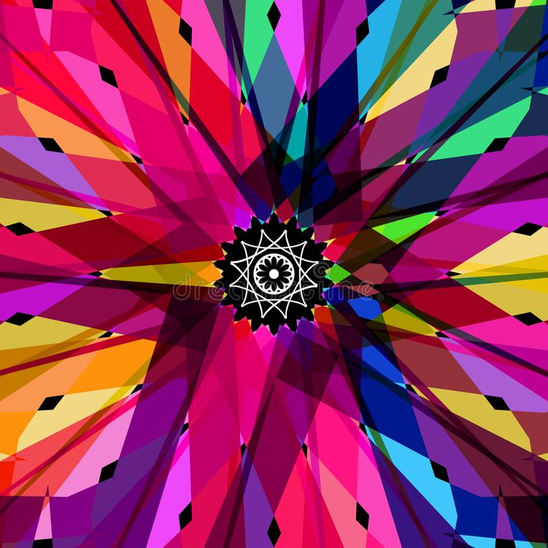 Abstract colorful kaleidoscope vector background on black. royalty free illustration
