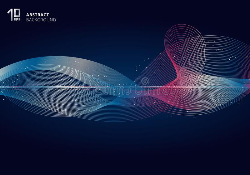Abstract colorful light lines wave futuristic style on dark blue background with gold glitter stock illustration