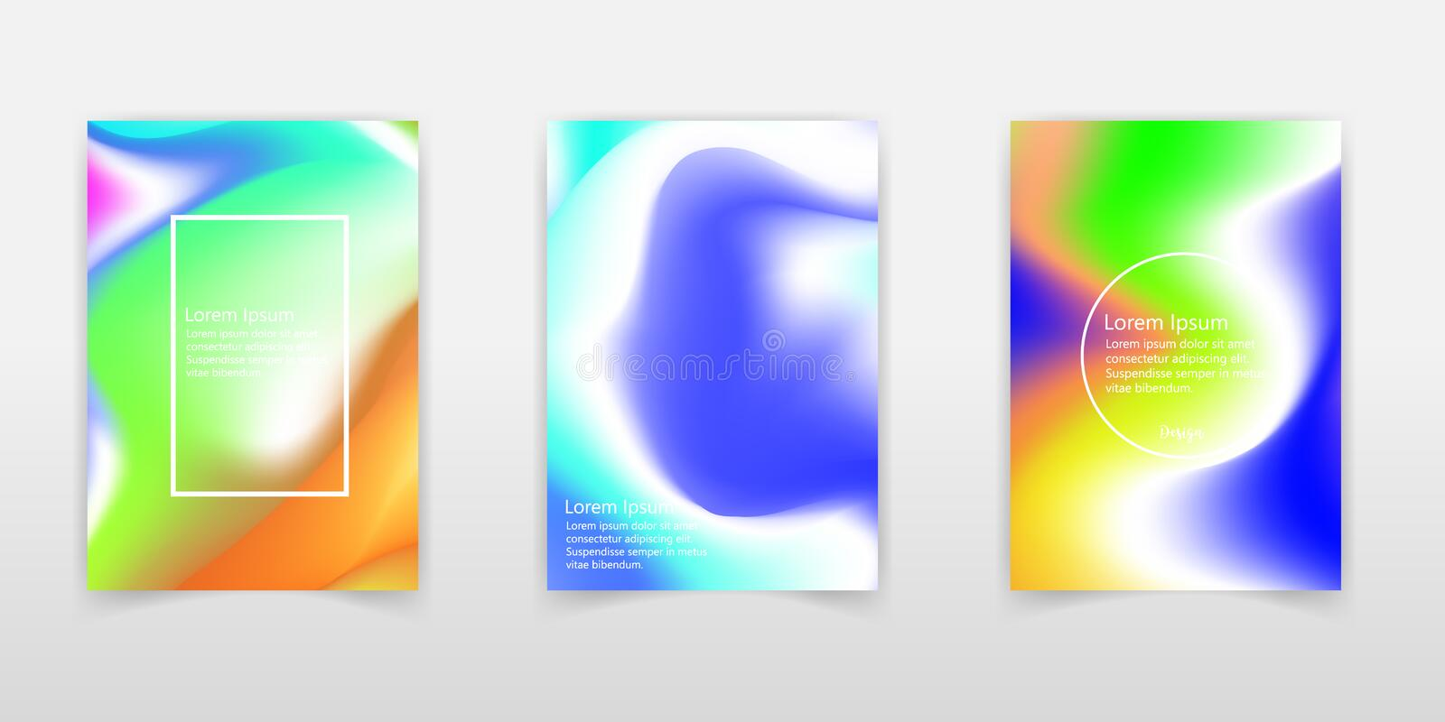 Abstract colorful liquid and holographic colors background for poster design. Blue, yellow, red, orange, pink and green. Vector royalty free illustration