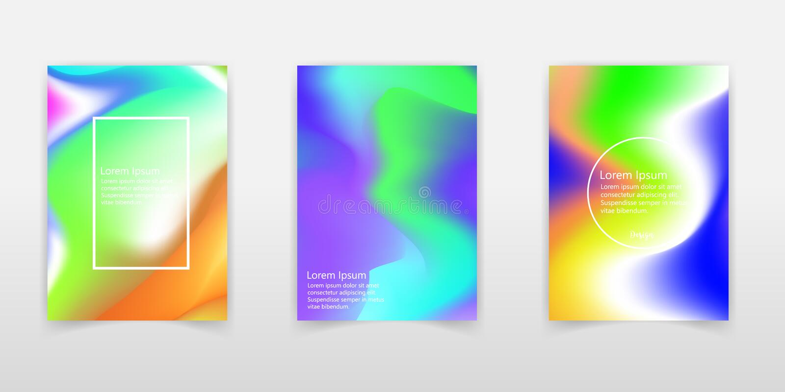 Abstract colorful liquid and holographic colors background for poster design. Blue, yellow, red, orange, pink and green. Vector vector illustration