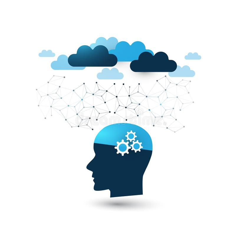 Machine Learning, Artificial Intelligence, Cloud Computing, Digital Support Assistance and Networks Design Concept with Clouds stock illustration