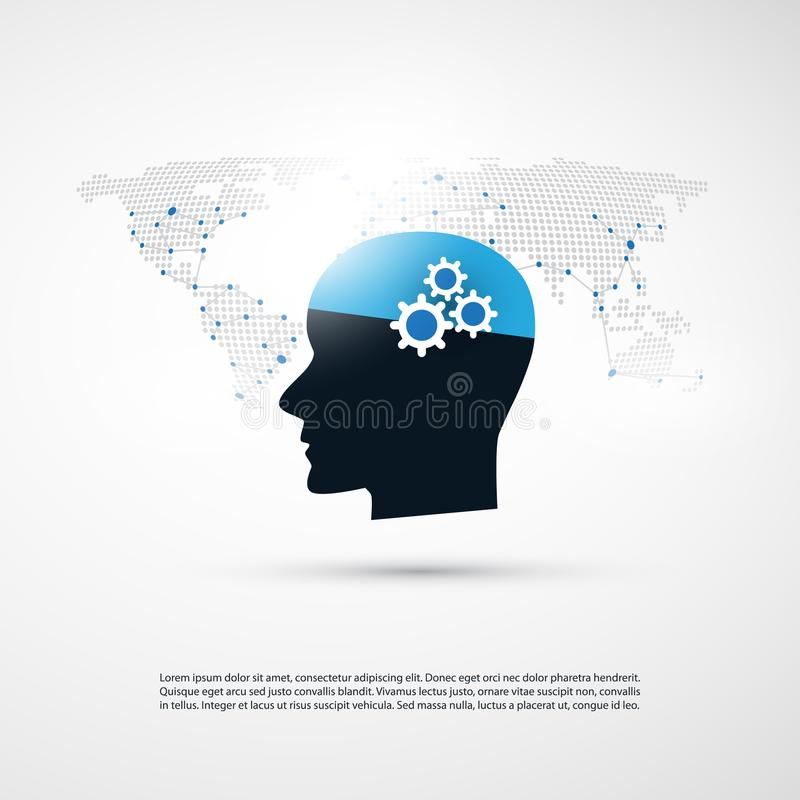 Machine Learning, Artificial Intelligence and Networks Design Concept with World Map and Human Head stock illustration