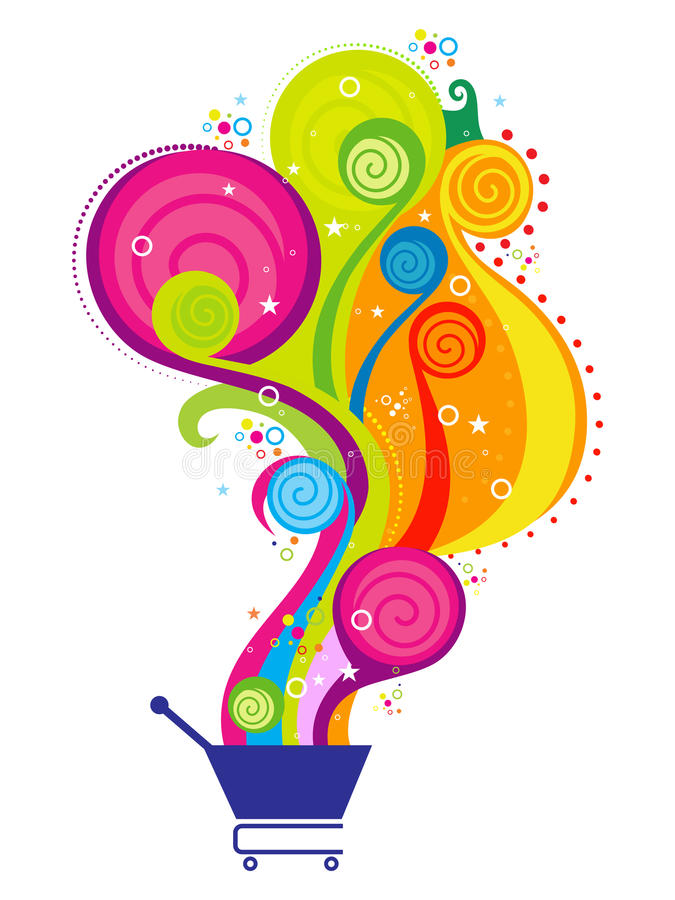 Abstract colorful magical shoppig cart stock illustration