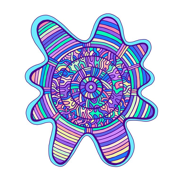 Abstract colorful mandala, with circle pattern maze of ornaments. Psychedelic doodle style. Vector hand drawn illustration background vector illustration