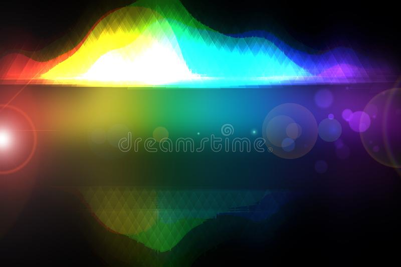 Abstract colorful modern art movement of waves with mirror effect on transparent border on black background. Template new year stock illustration