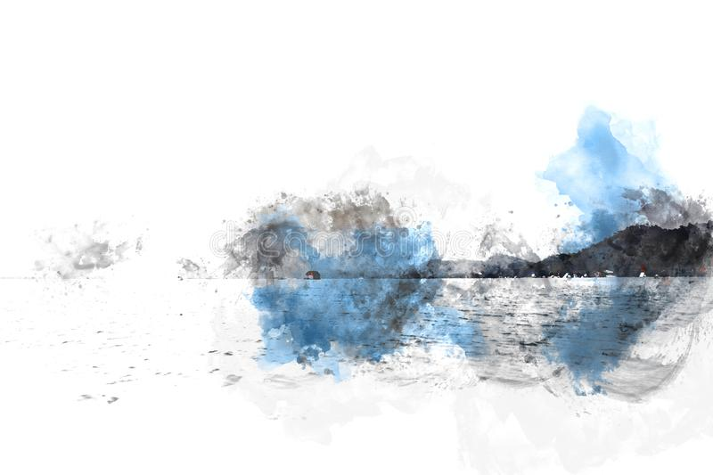 Abstract Mountain hill on watercolor painting background. stock photo
