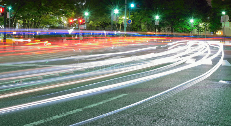 Abstract colorful Moving traffic lights blurs royalty free stock photos