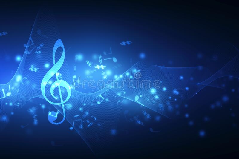 Abstract Colorful music background with notes stock illustration