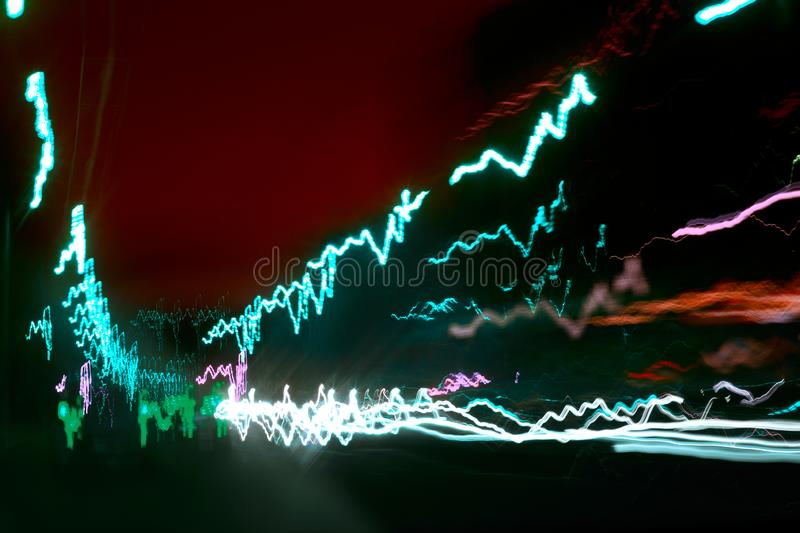 Abstract colorful neon lights at night background.  stock photo