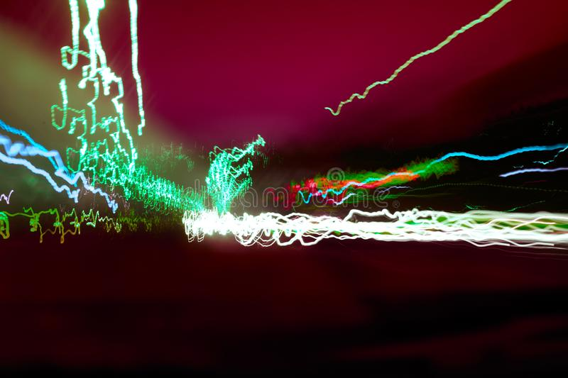 Abstract colorful neon lights at night background.  royalty free stock image