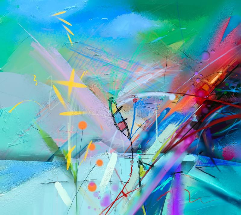 abstract colorful oil painting on canvas texture stock illustration