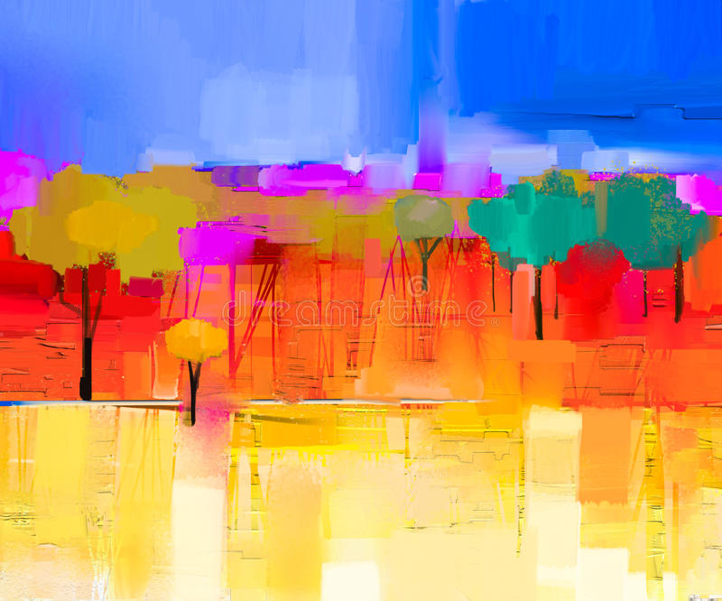 Abstract Colorful Oil Painting Landscape On Canvas Stock