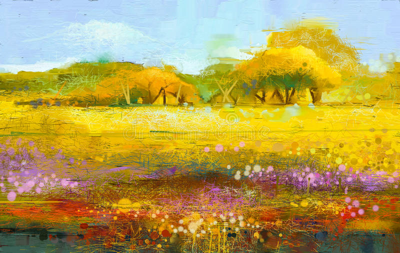 Abstract colorful oil painting landscape royalty free illustration