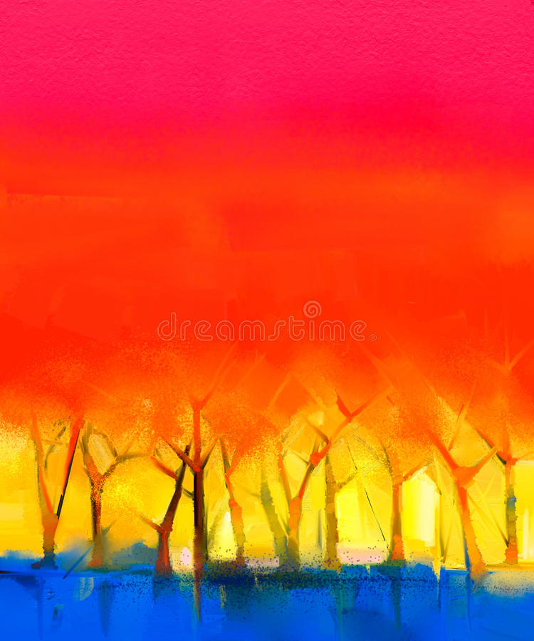 Abstract colorful oil painting landscape on canvas stock illustration