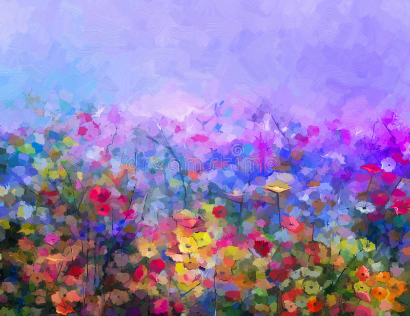 Abstract colorful oil painting purple cosmos flowe, daisy, wildflower in field royalty free illustration