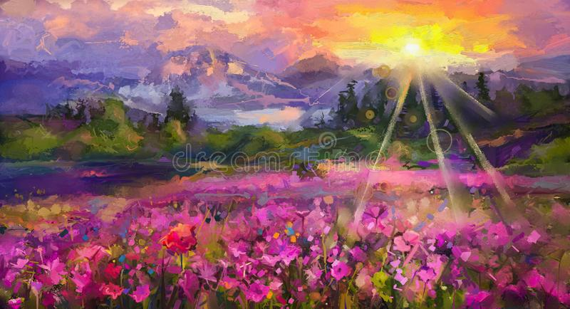 Abstract colorful oil painting purple cosmos flower vector illustration