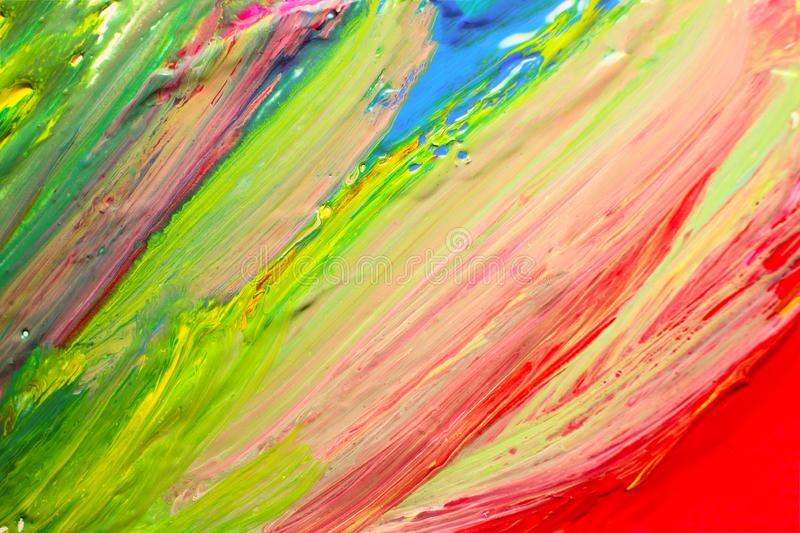 Abstract colorful oil stains on canvas texture. Hand drawing brush, background color stock image