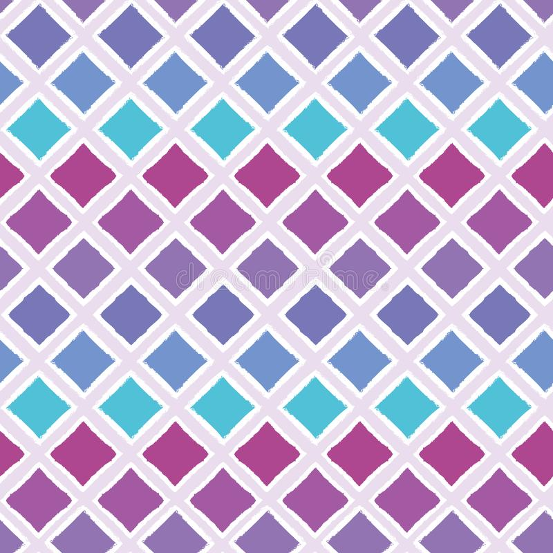 Abstract colorful ombre geometric seamless vector pattern background with brush stroked diamond shapes for fabric. Wallpaper, scrapbooking projects or vector illustration