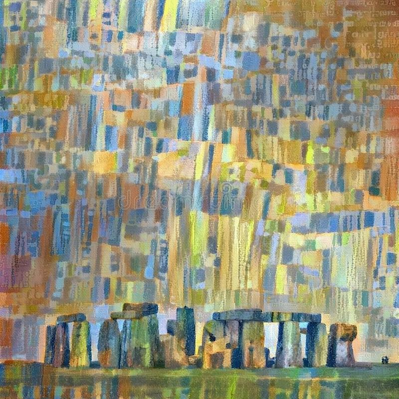 Stonehenge. Abstract colorful painting. Oil on canvas. Stonehenge stock illustration