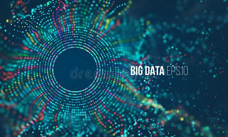 Abstract colorful particle grid with bokeh. Science dust with glow. Futuristic bigdata visualization vector illustration