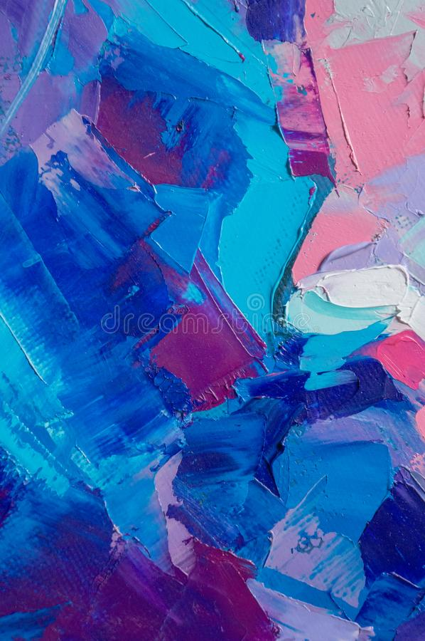 Fragment. Multicolored texture painting. Abstract art background. oil on canvas. Rough brushstrokes of paint. Closeup of a paintin royalty free illustration
