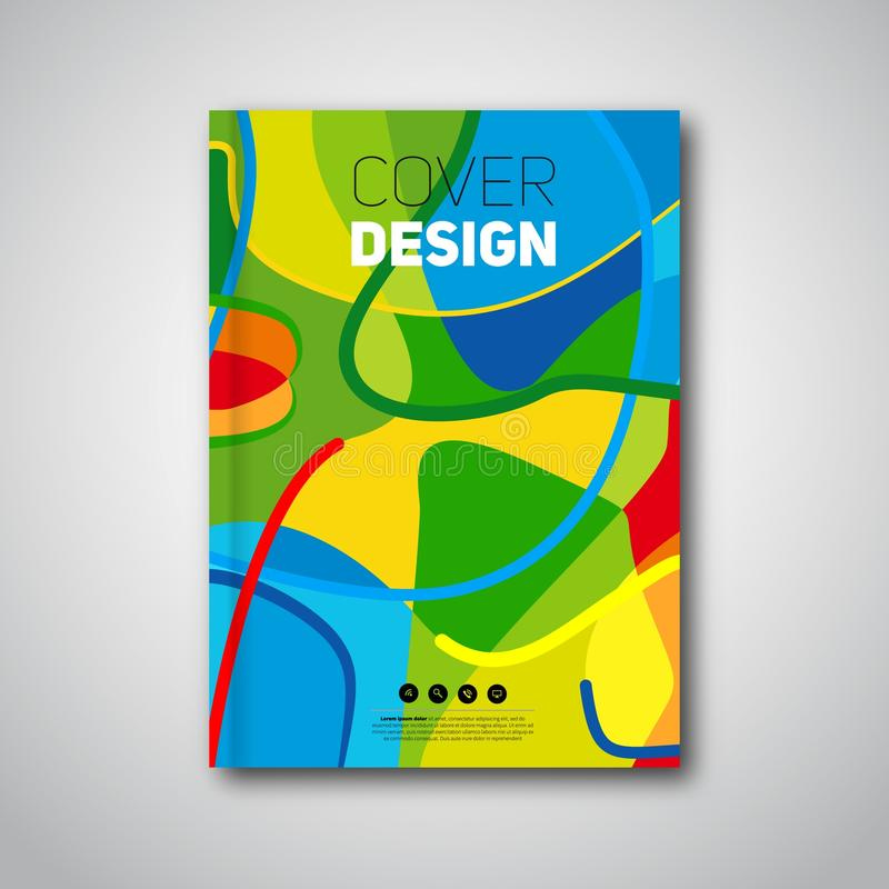 Abstract colorful pattern flyer or annual report. Summer stock illustration